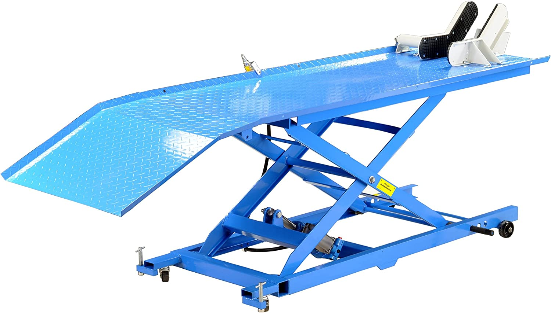 Pro Lift Montagetechnik Scherenbühne Motorradhebebühne 450kg Mit Pneumatikantrieb Blau Plb450 Kaj 01639 Baumarkt
