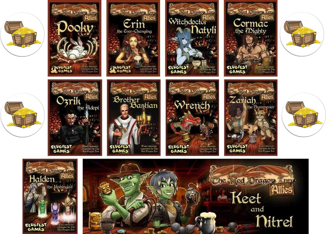 BUNDLE of 10 Red Dragon Inn Character Expansion Decks plus 4 Treasure Chest Buttons by Red Dragon Inn