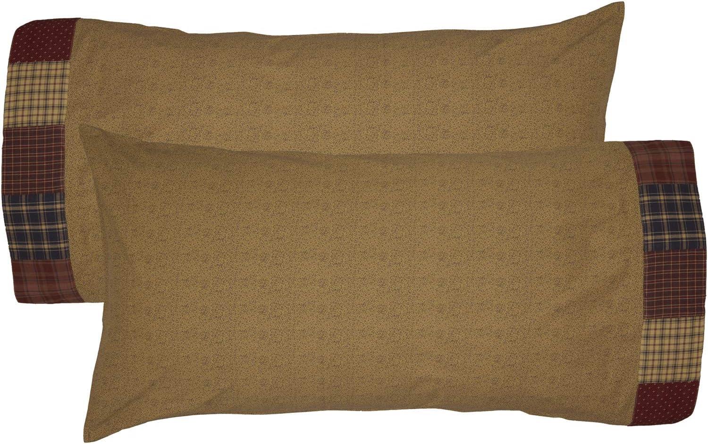 VHC Brands Rustic Millsboro Cotton Patchwork Floral/Flower King Bedding Accessory, Pillowcase Set 21x40, Burgundy