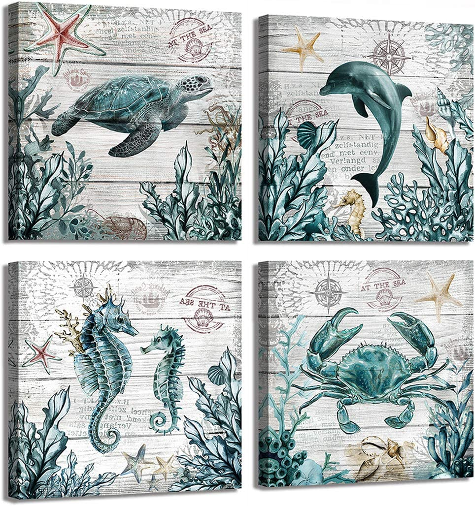 3 Panel Wall Art for Bathroom-Blue Ocean Nautical Theme Canvas Prints Painting on Wooden Background-Turtle Dolphin Hippocampus Crab Wall Decor for Gift Artwork for Bedroom 14x14in
