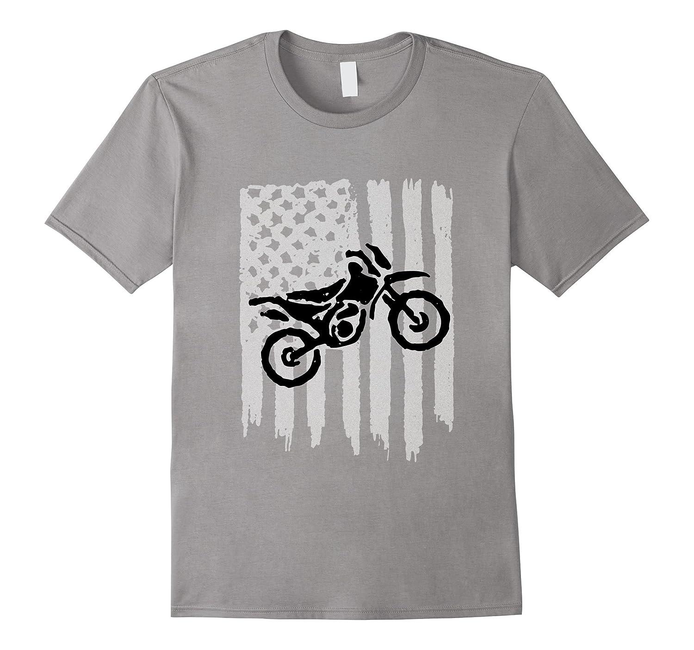American Flag Graphic Motocross Dirt Bike Tee (bw)-Rose