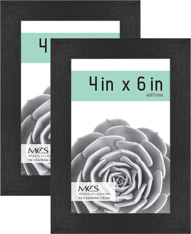 MCS Industries MCS 4x6 Inch Gallery 2-Pack, Black Woodgrain Essential Frame, 4x6