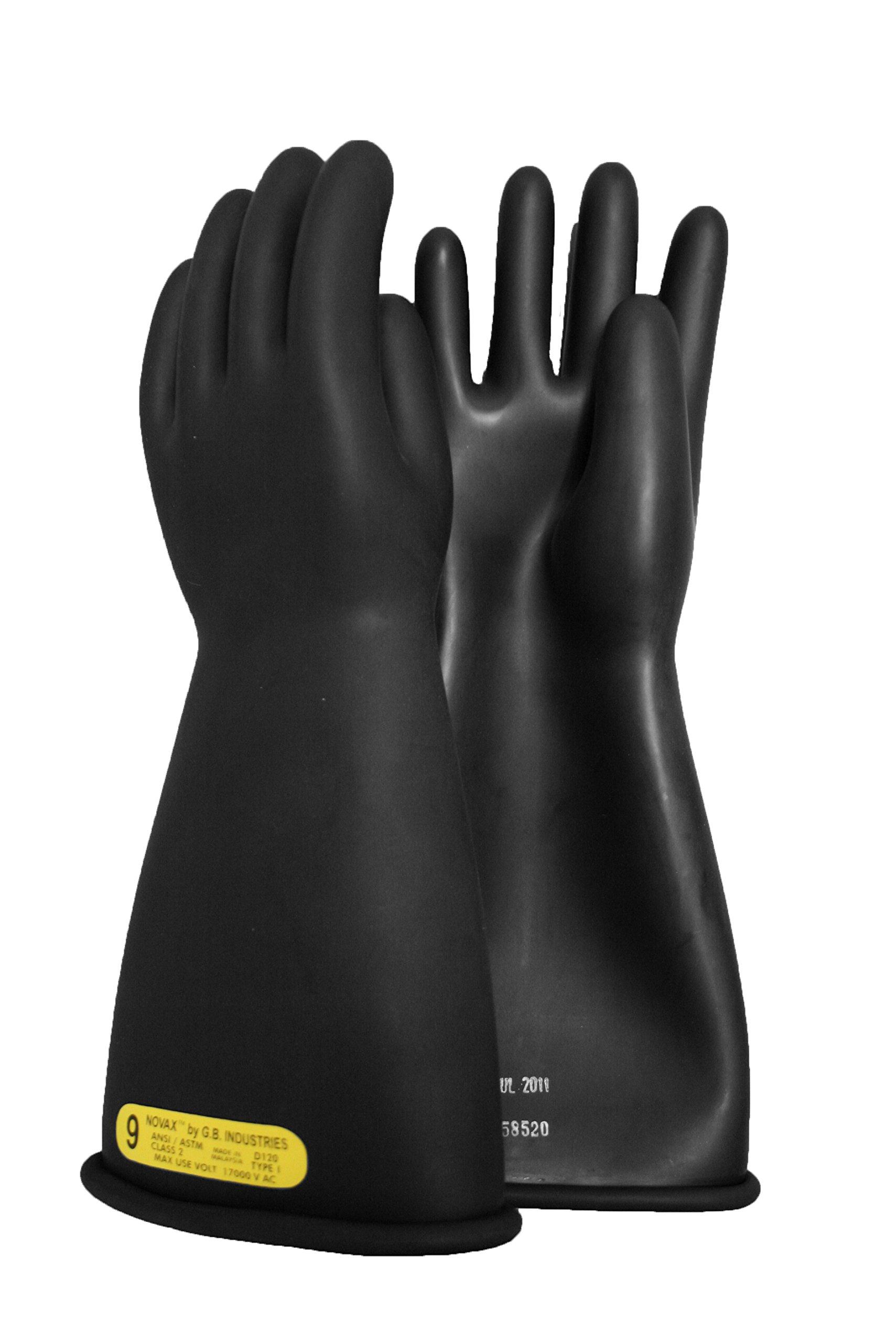 National Safety Apparel Class 2 Black Rubber Voltage Insulating Gloves, Max. Use Voltage 17000V AC/25500V DC (DW14210)