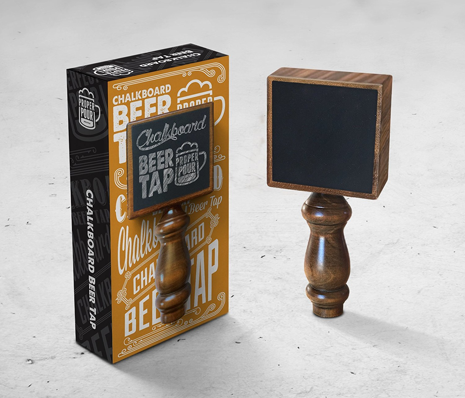 Proper Pour Chalkboard Beer Tap Handle Display Made of Wood for Kegerator