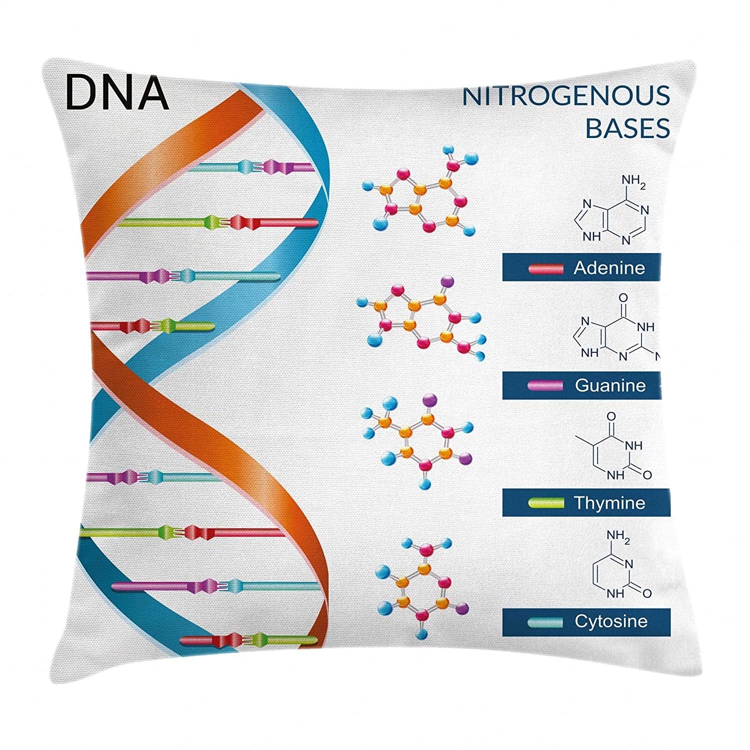 "Ambesonne Educational Throw Pillow Cushion Cover, DNA Bases Chemistry Biochemistry Biotechnology Science Spiral Genetic, Decorative Square Accent Pillow Case, 20"" X 20"", White Blue"