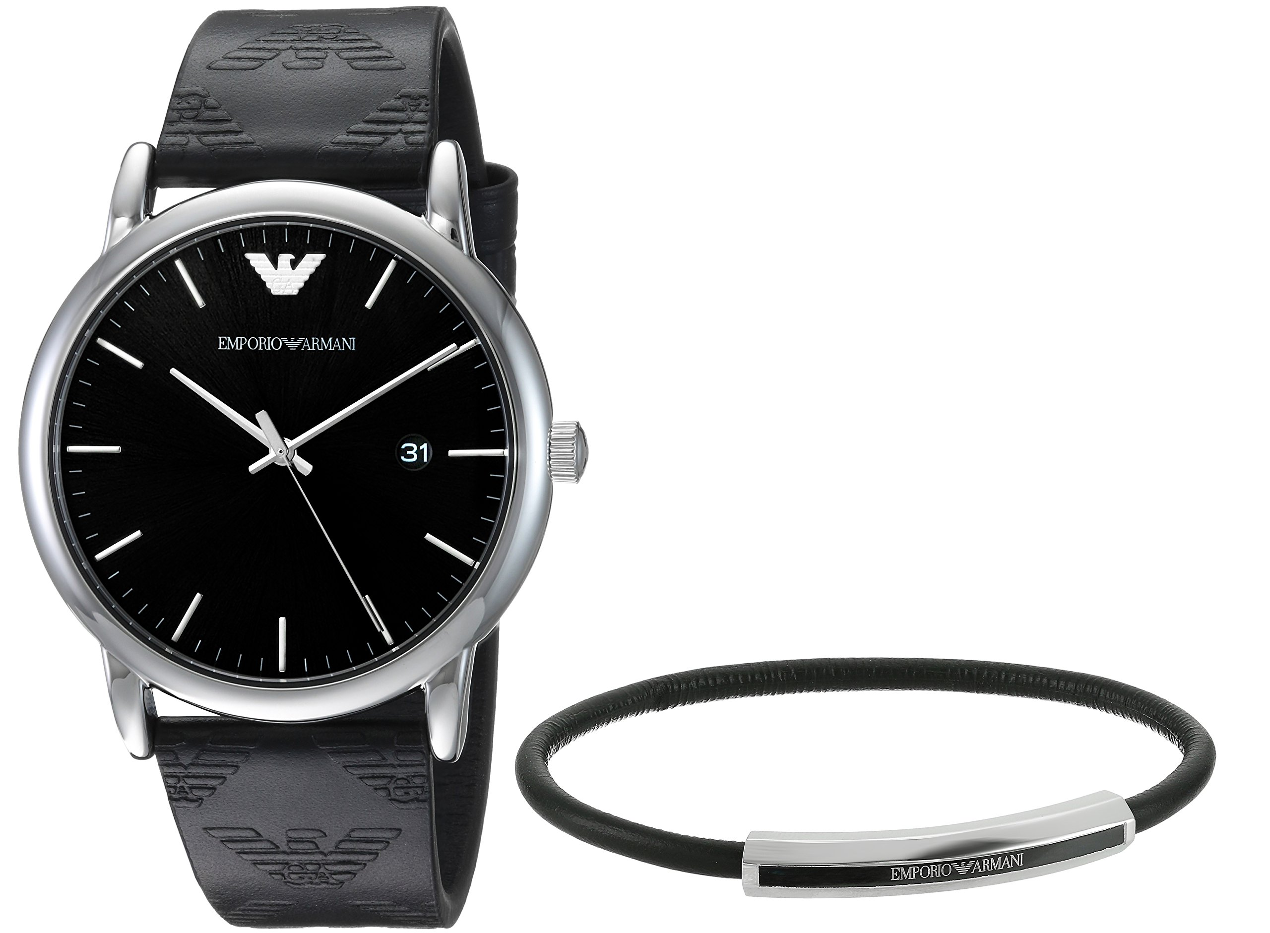 Emporio Armani Men's 'Dress' Quartz Stainless Steel and Leather Casual Watch, Color:Black (Model: AR80012)