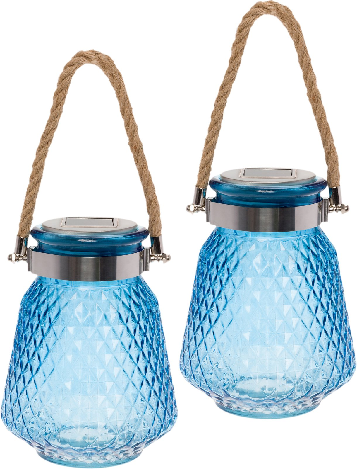 GreenLighting 2 Pack Solar Powered Mason Jar Light - Decorative LED Glass Table Light by (Blue)