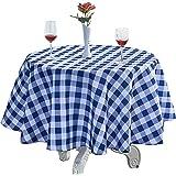 "YEMYHOM Modern Printed Spill Proof Cloth Round Tablecloths (60"" Round, Dark Blue Checker)"