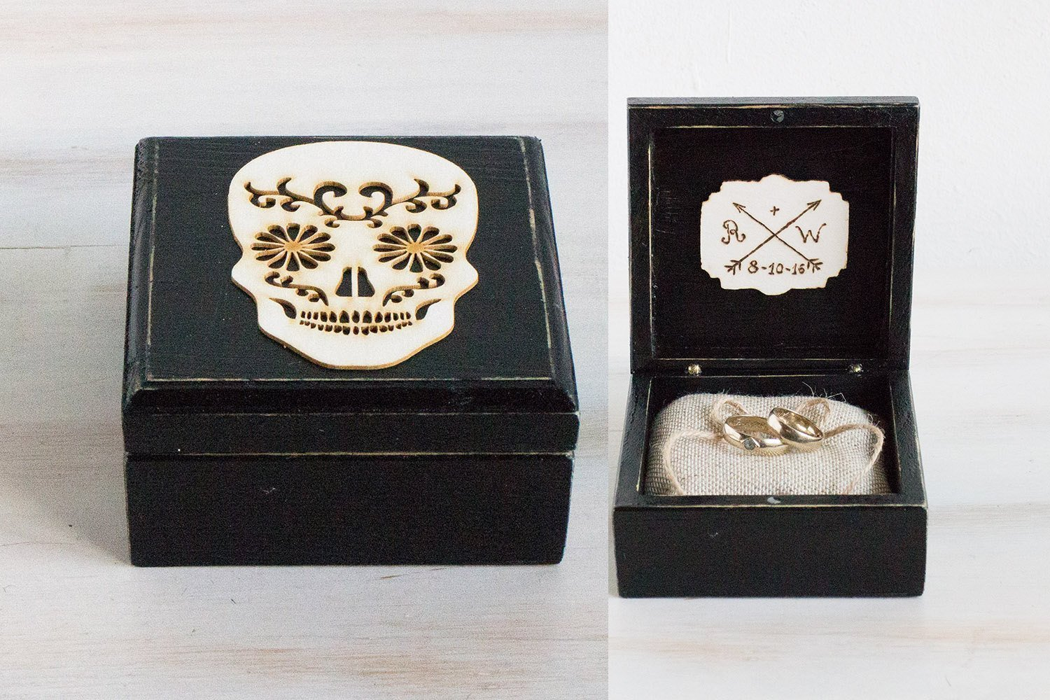 Black Ring bearer box, Personalized wedding box, Customized Wedding ring box, Mexican Skull ring box, Halloween Wedding Box, Engagement box, Custom ring box Ring Holder, Day of the Dead Ring Box
