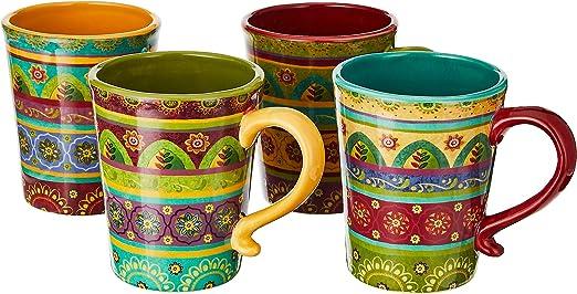Certified International Tunisian Sunset Mugs Set Of 4 18 Oz Multicolor 22452set 4 Kitchen Dining