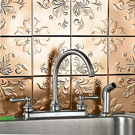 Amazon.com: Brylanehome Floral Embossed Tin Tiles: Home & Kitchen