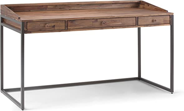 Amazon Com Simplihome Ralston Solid Wood And Metal Modern Industrial 60 Inch Wide Home Office Desk Writing Table Workstation Study Table Furniture In Rustic Natural Aged Brown With 2 Drawer Furniture Decor