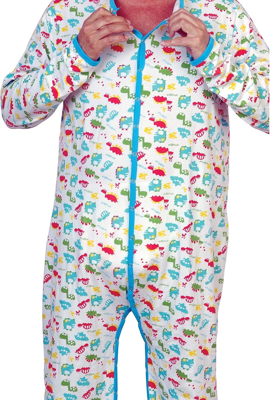 Cuddlz Colourful Dinosaur Animal Pattern Cotton Stretch Adult Long Sleepsuit Onesie ABDL Romper Baby Grow Body Suit
