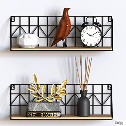 Gadgy estanteria de Pared metalica flotante| Juego de 2 estanterias metalicas y Madera | 45 x 12 x 15 cm. | Baldas Pared decorativas | Para Hogar, ...