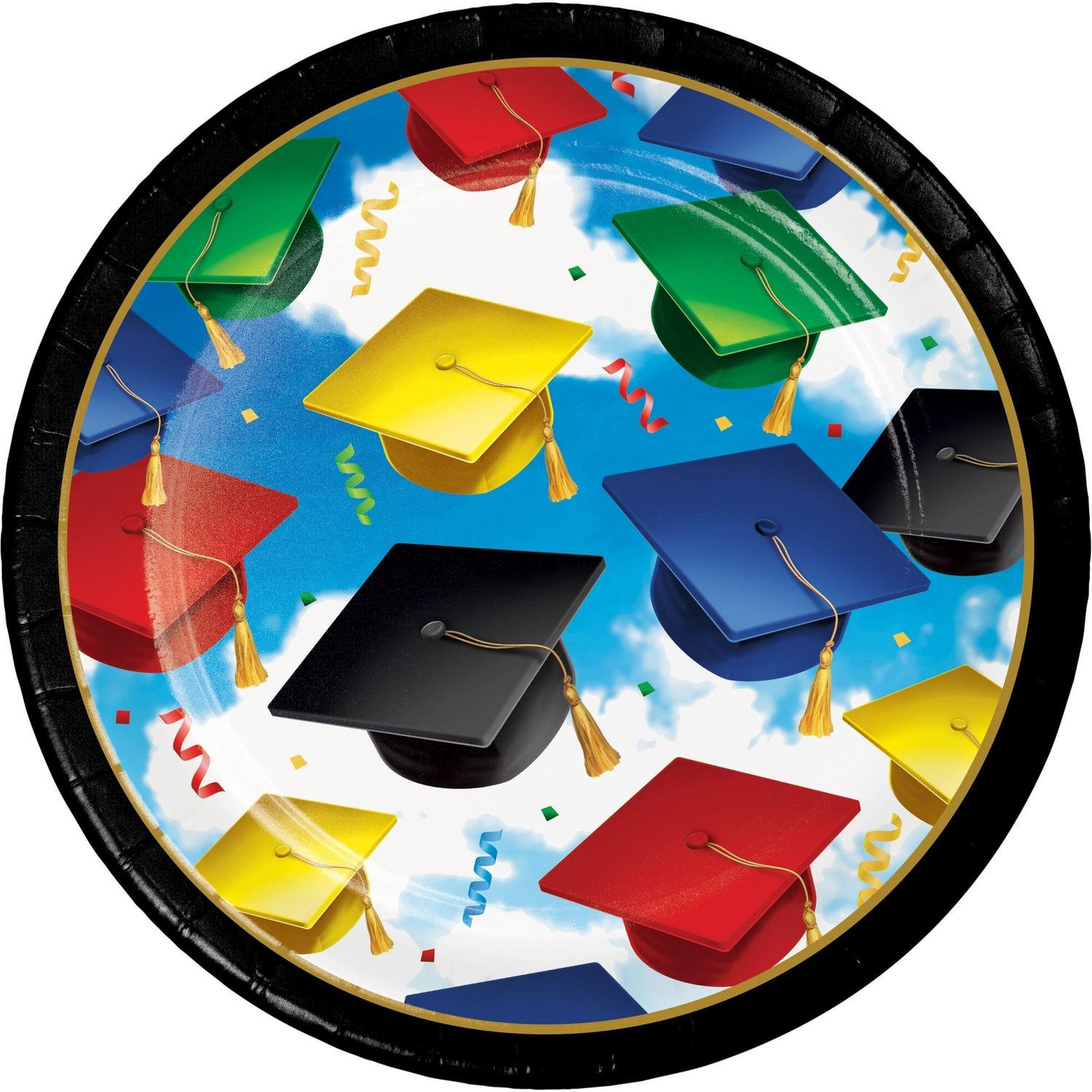 Club Pack of 600 Blue and Black Grad Celebration Designed Luncheon Plate 6.875''
