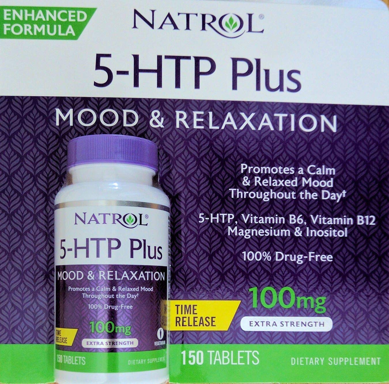 Natrol 5-HTP Plus Mood and Relaxation Enhancer, 100mg, 150 Time Release Tablets (300)
