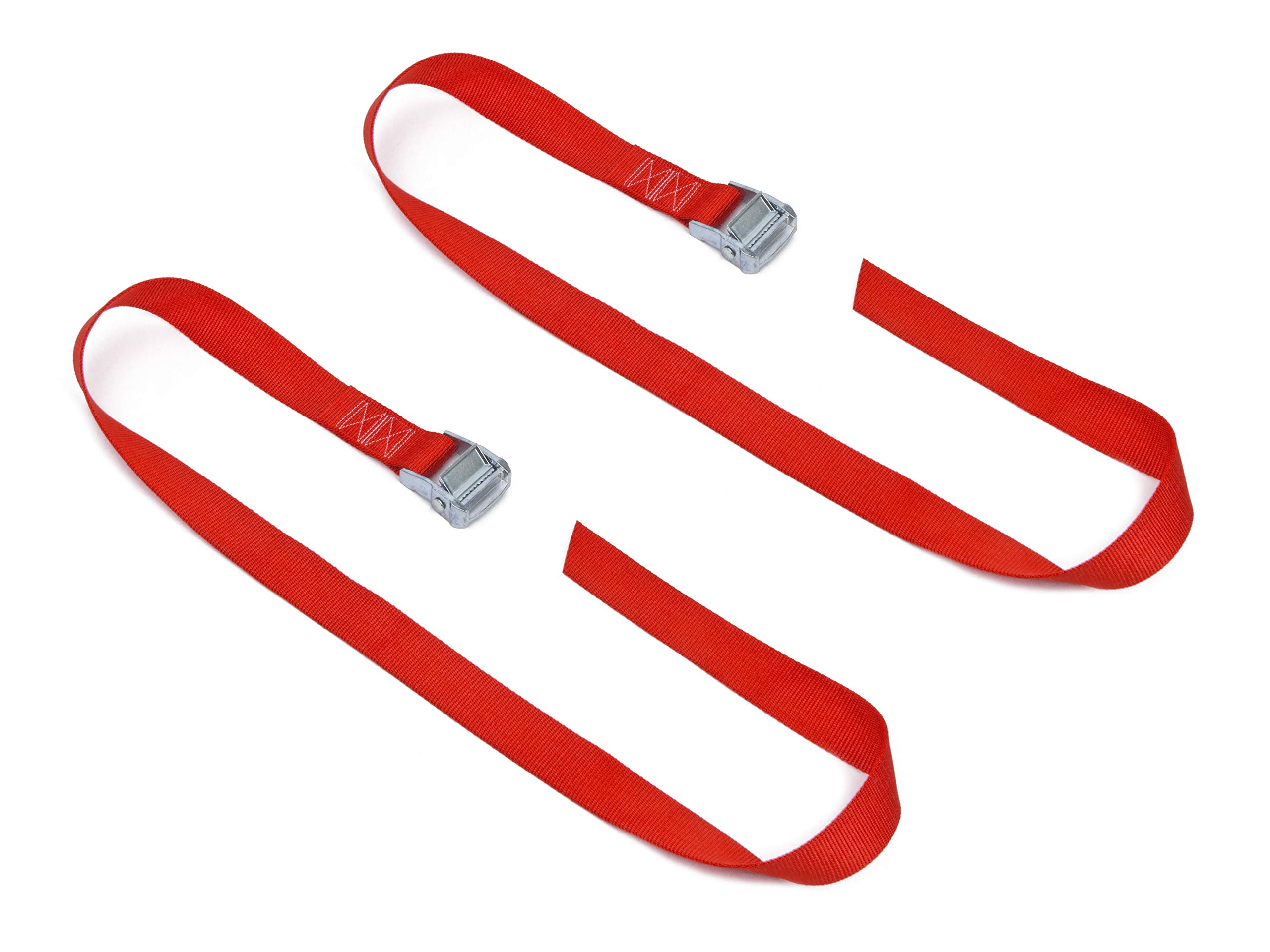 1½'' x 4ft PowerTye Made in USA Heavy-Duty Lashing Strap with Heavy-Duty Buckle, Red, 2-Pack by Powertye