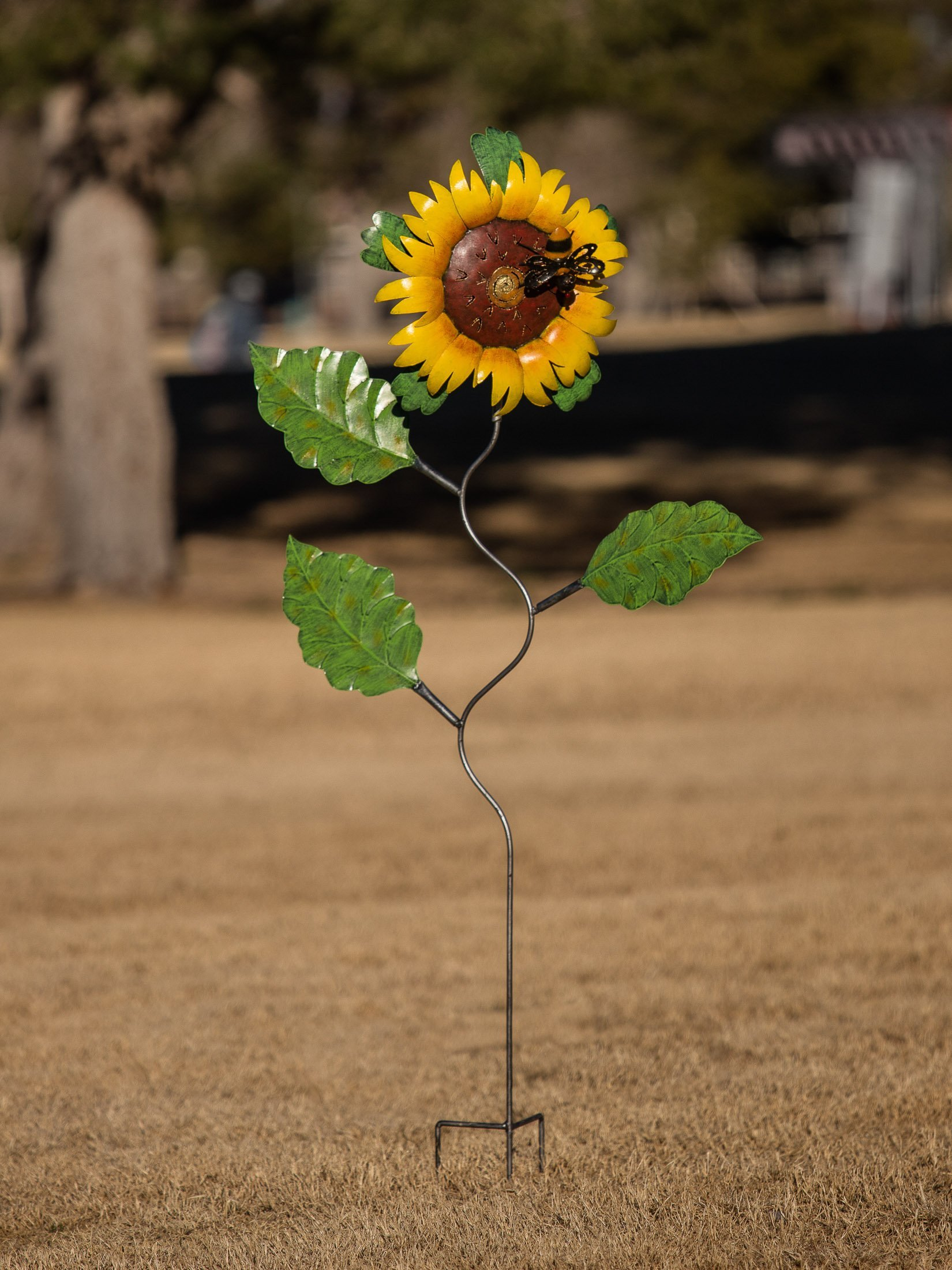 Bali Garden Handmade Iron Garden Stake - Sunflower and Bee