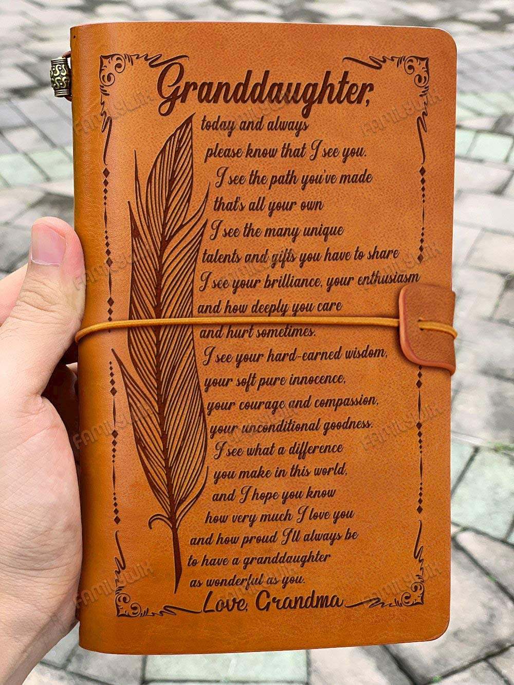 Grandma To Granddaughter, How Much I Love You Leather Journal SX57, 7.5''x4.7''Writing Notebook - Bound Daily Notepad For Men & Women-Refillable Paper-Best Gift for Christmas,Birthdays by Sense Gifts