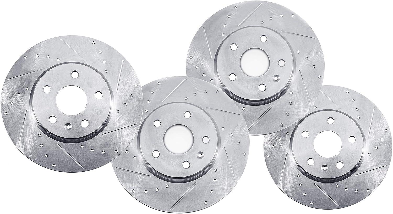 Front+Rear Drilled Slotted Brake Rotors And Ceramic Pads For Hyundai Sonata V6