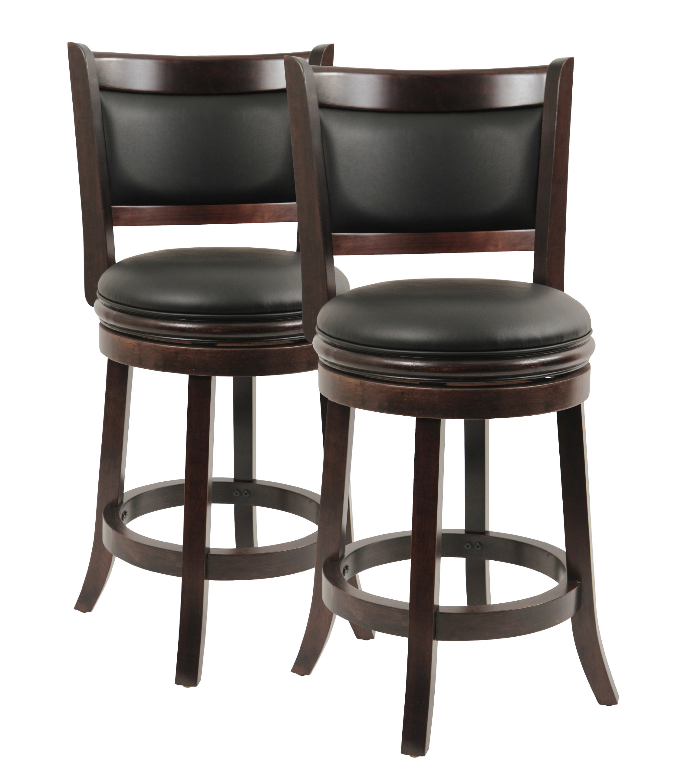 Boraam 8824 Augusta Counter Height Swivel Stool, 24-Inch, Cappuccino, 2-Pack