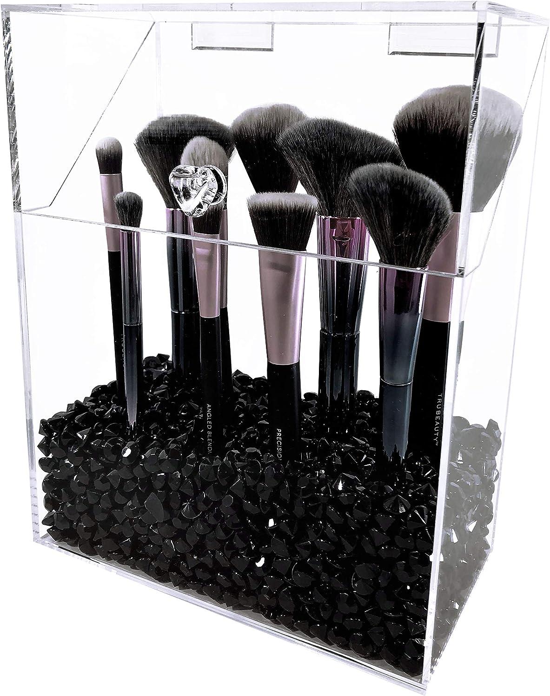 Amazon Com Liamin Usa Large Size Makeup Brush Organizer Holder With Lid Dustproof Black Home Kitchen