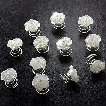5 Rosen Haarnadeln Strass Blume Braut Kommunion Hochzeit Hairpins Frisur