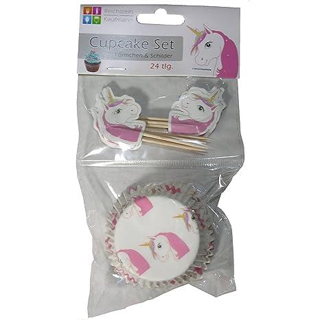 Set de 24 unidades para cupcakes de unicornio molde en papel de horno para magdalenas con