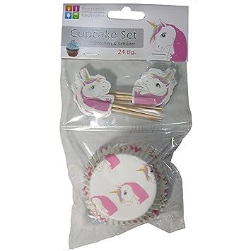 Set de 24 unidades para cupcakes de unicornio molde en papel de horno para magdalenas con cartel de unicornio: Amazon.es: Jardín