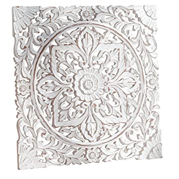 Pureday Carved Wooden Wall Panel Distressed White