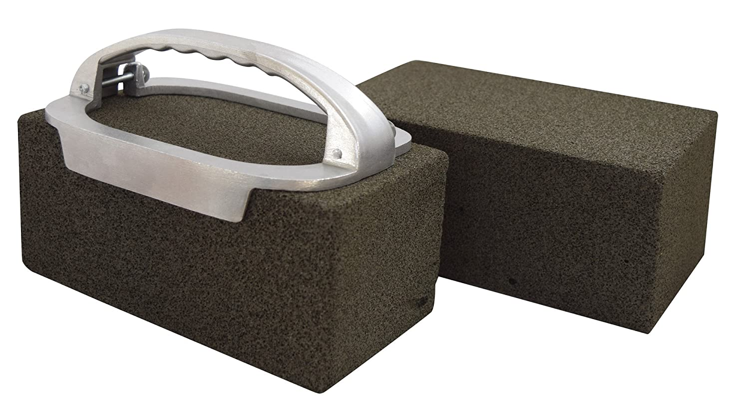 JA Kitchens Grill Brick Holder and Two Grill Bricks - Cleans Griddles and Grills