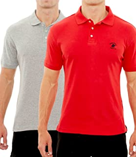 70bcc4f75708a1 Beverly Hills Polo Club Men's Soft Touch Knit Polo with Horse Logo (2 Pack)