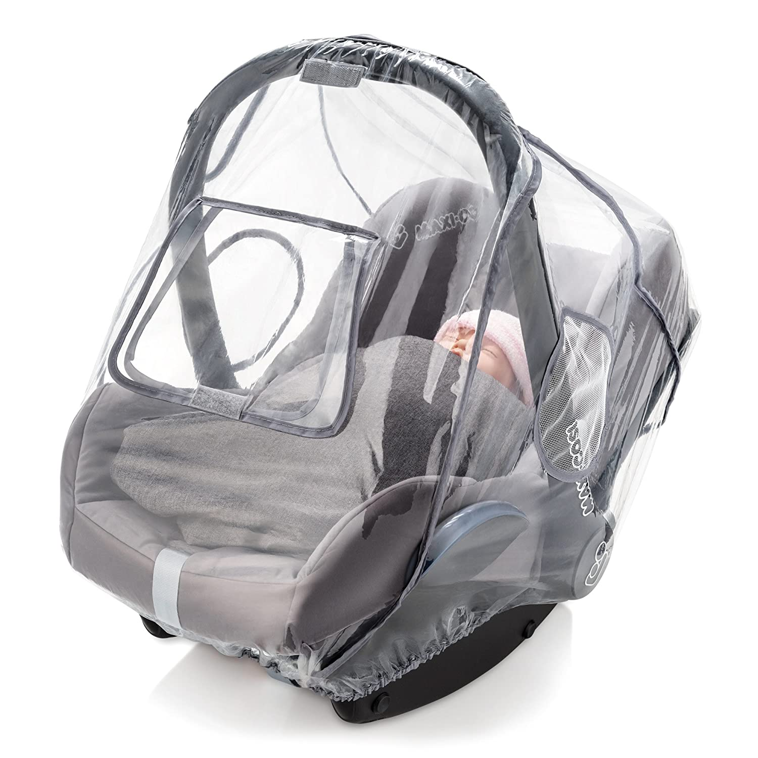 Ideal Air Circulation e.g. Maxi Cosi // Cybex // Graco // Britax // Joie // Cosatto Universal Infant Car Seat Raincover Grey Roll-Up Window and Opening to Simplify Carrying PVC-Free Zamboo