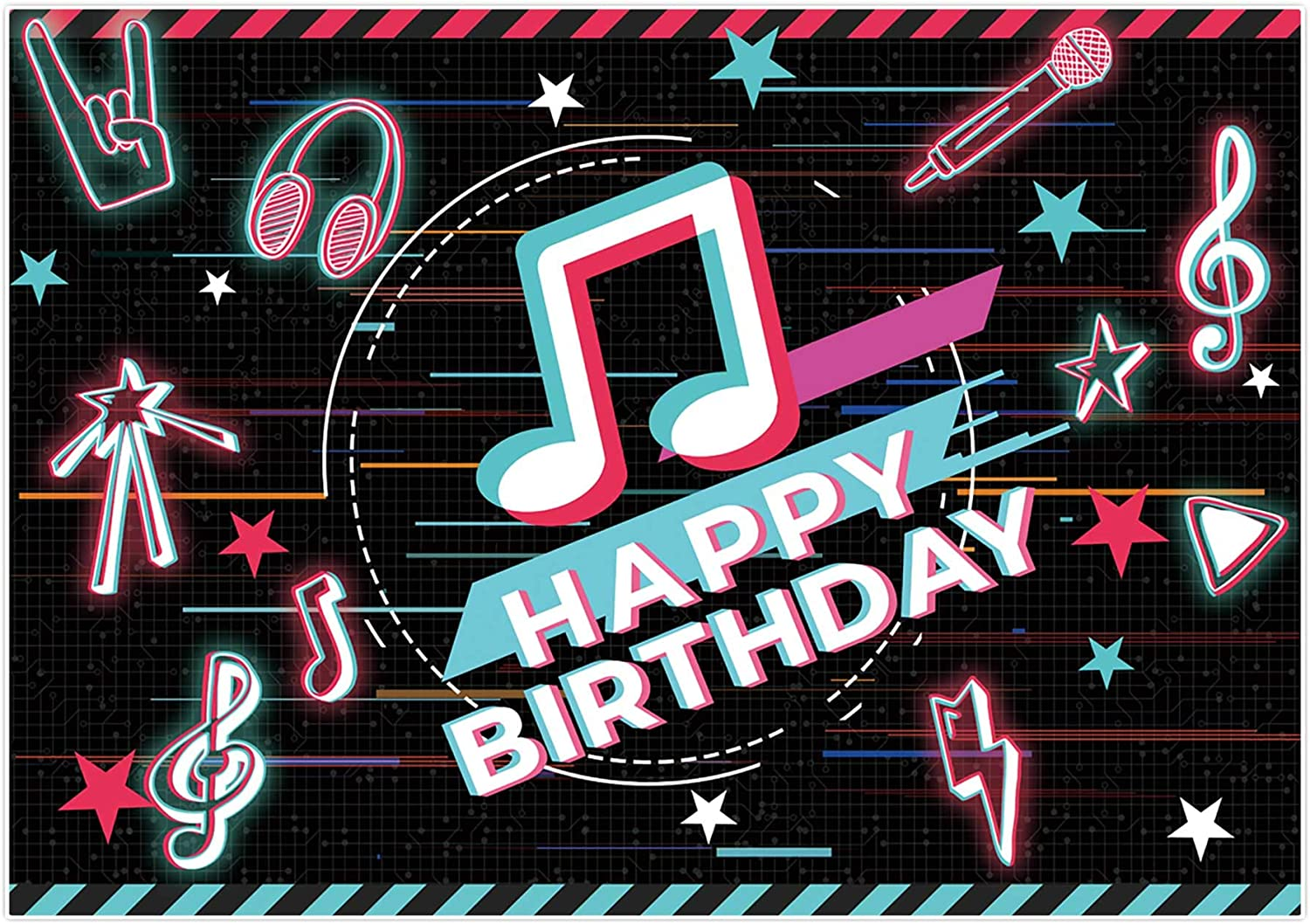 Allenjoy 7x5ft Happy Birthday Theme Musical Party Backdrop Supplies for Newborn Kids Boys Girls Decors Props Music Notes Doodles Baby Shower Cake Smash Banners 13th 16th Hip Hop Photoshoot Background