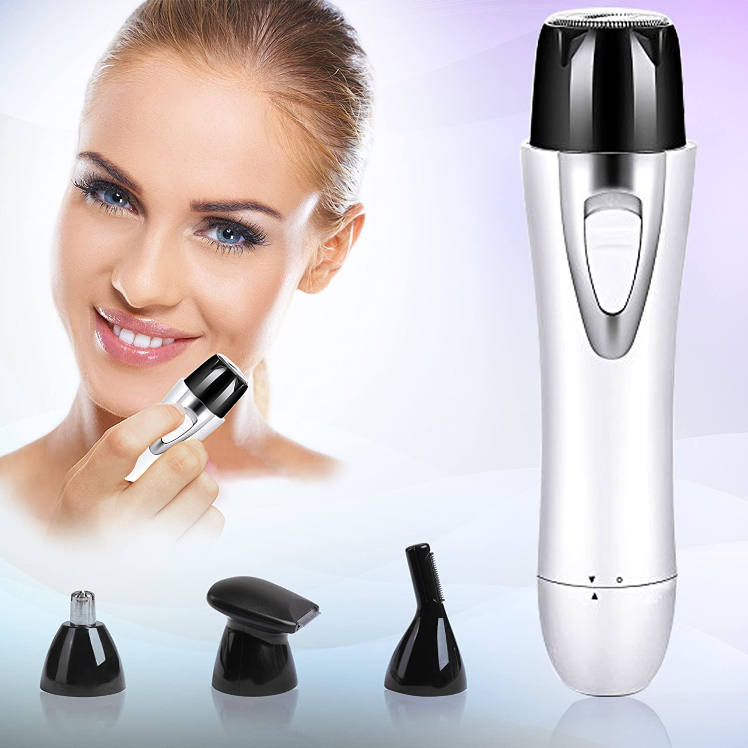 Mini Portable Hair remover/Painless Facial Hair Removal/Rechargeable Nose& Eyebrow Bikini Trimmer/Electric Shaver with Built-in charge cable& 4 Functional Razors for Women& Men, Lipstick Design by Binzim PLYRFOCE