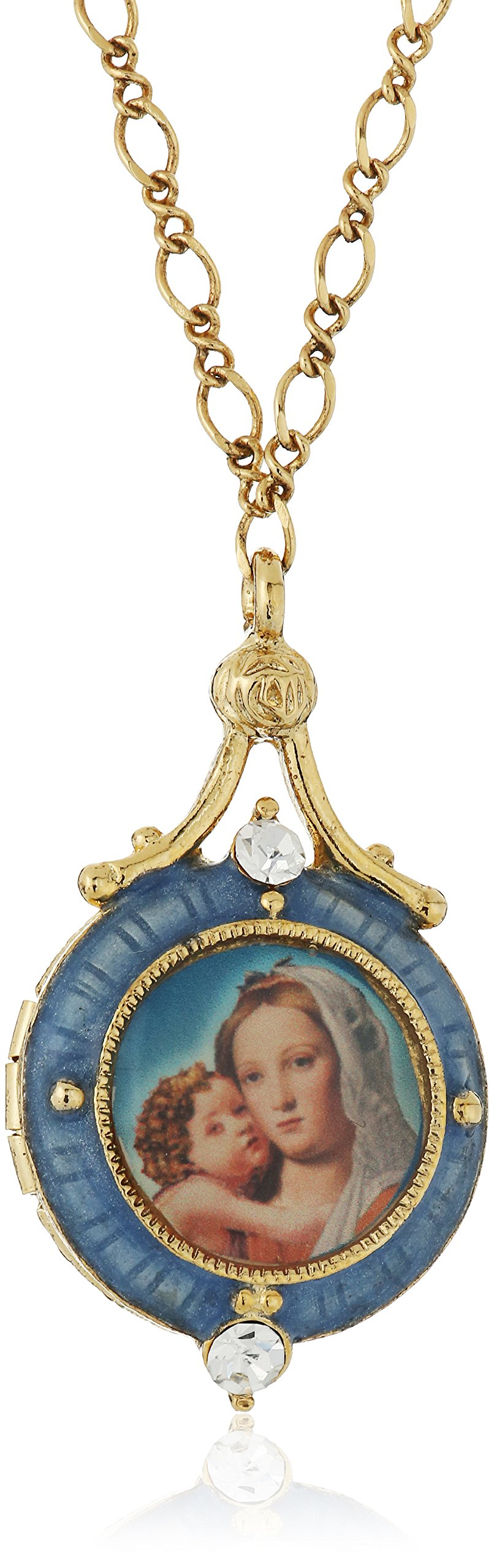 Symbols of Faith Inspirations 14k Gold-Dipped Blue Enamel Mary and Child Locket Necklace, 17.5''
