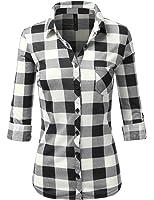 J.TOMSON Women's Casual Roll Up Long Sleeve Plaid Shirt