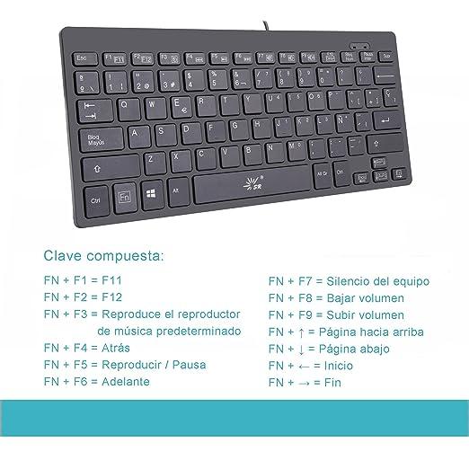 SR Diseño de Mini Teclado Español 78 Teclas USB Multimedia Cableado Pequeño Portátil Pequeño para Ordenador Portátil Ordenador Portátil: Amazon.es: ...