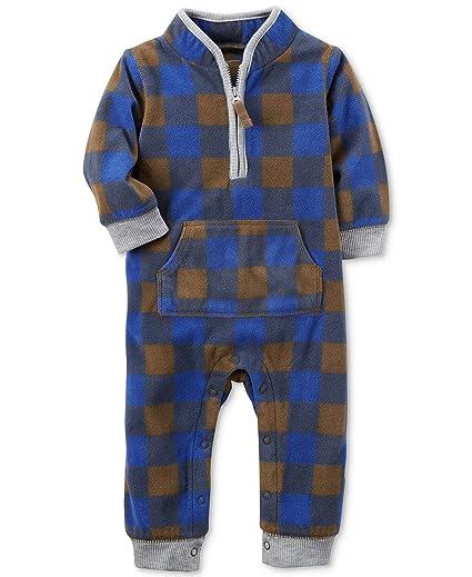 01b82613f Amazon.com  Carter s Baby Boys  Fleece Plaid Jumpsuit  Clothing