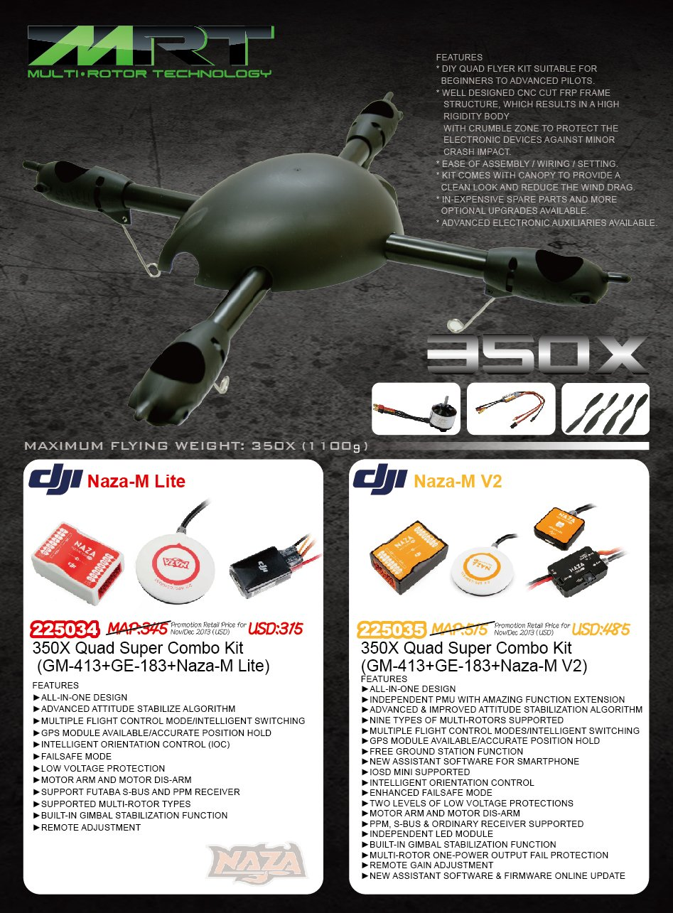 Gaui 350x Quad Super Combo Kit with Motors, Escs, and Dji Naza-m V2/gps
