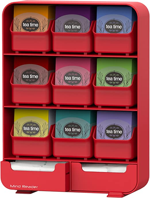 Mind Reader 9 Removable Drawers Tea Bag Holder And Condiment Organizer White