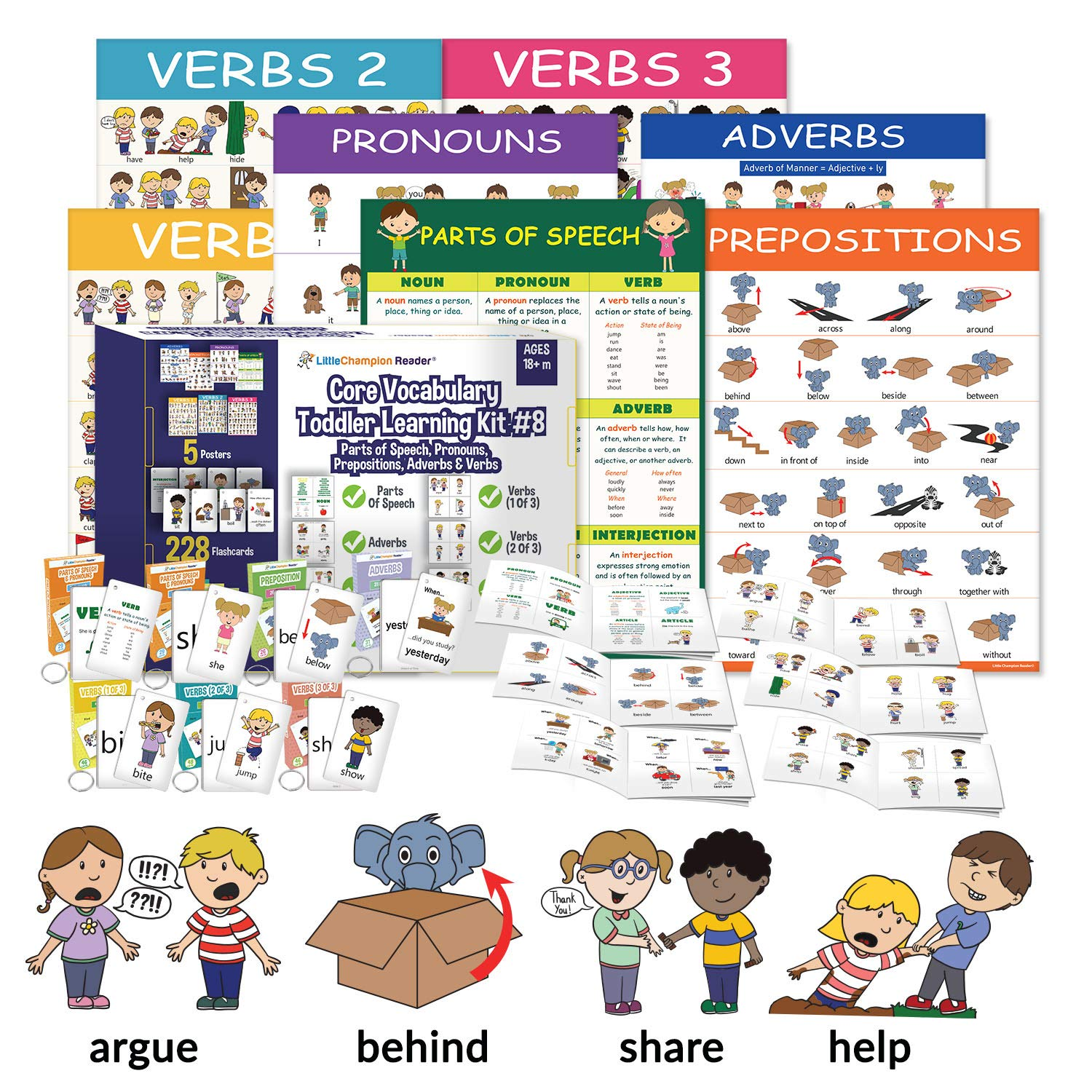 Little Champion Reader Teach Core Vocabulary Toddler Learning Kit 8 : Parts of Speech, Adverbs, Pronouns, Prepositions and Verb Action Words