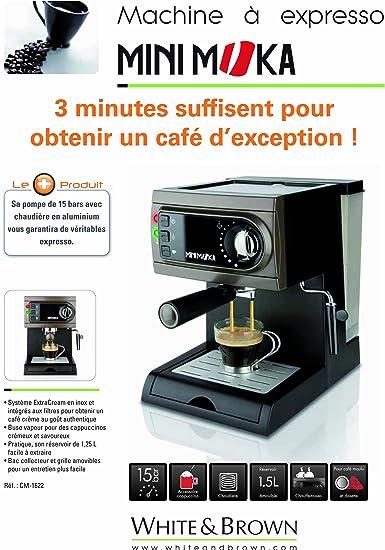Mini Moka CM-1622 - Cafetera espresso manual, apta para monodosis, color negro/gris: Amazon.es: Hogar