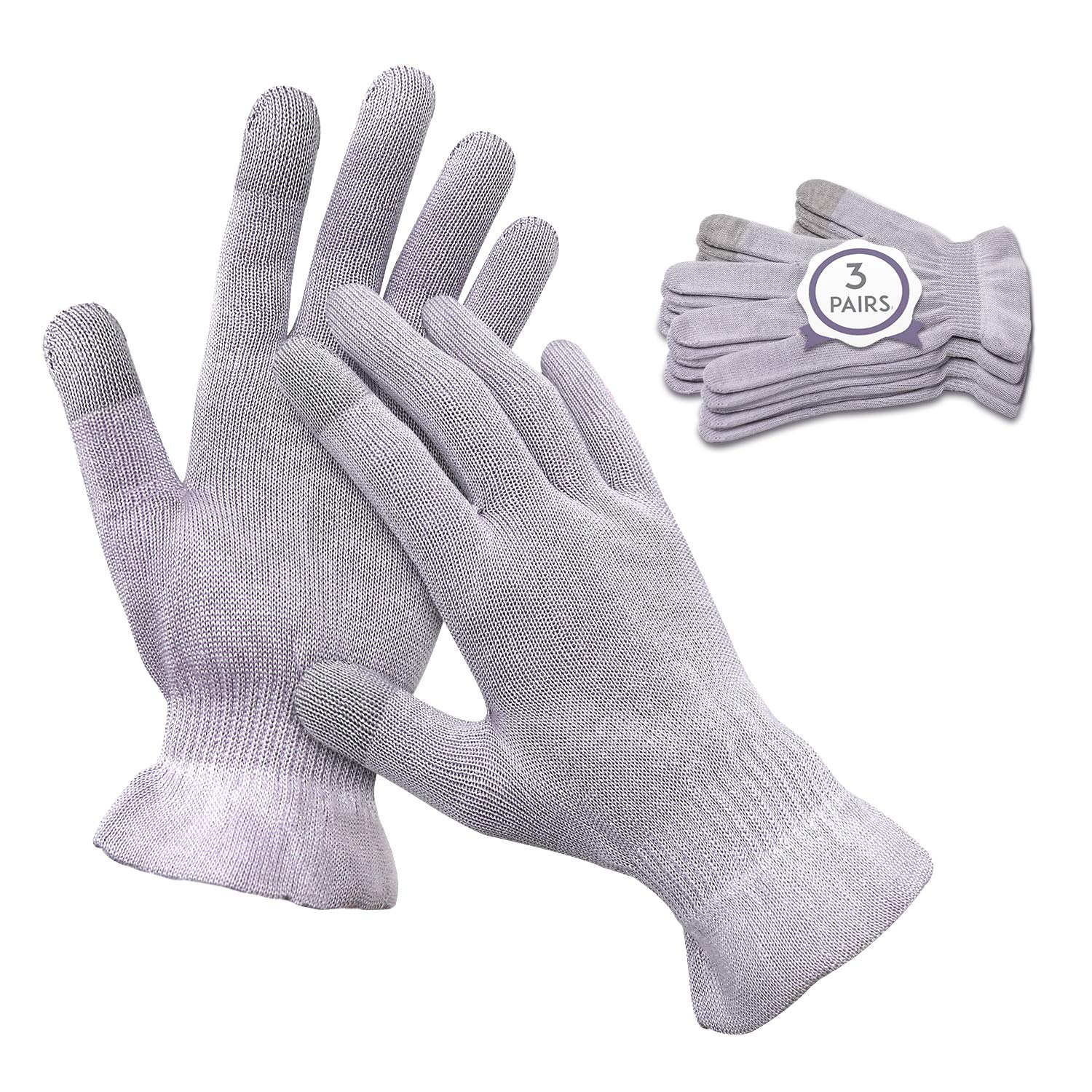 MIG4U Moisturizing Beauty Gloves Touchscreen Cotton Glove for SPA, Eczema, Dry Hands, Cosmetic Treatment, grey 3 pairs size s/m