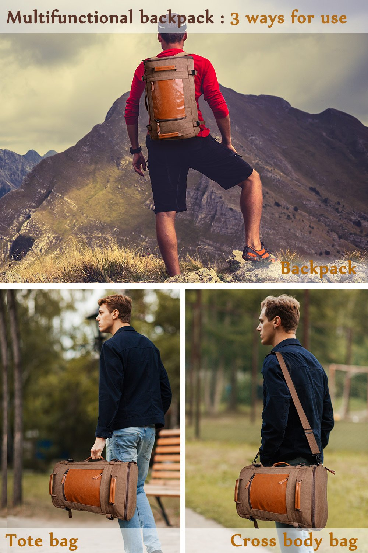 WITZMAN Men Vintage Canvas Rucksack Travel Duffel Backpack Retro Hiking Bag 2033 (19 inch Green) by WITZMAN (Image #2)