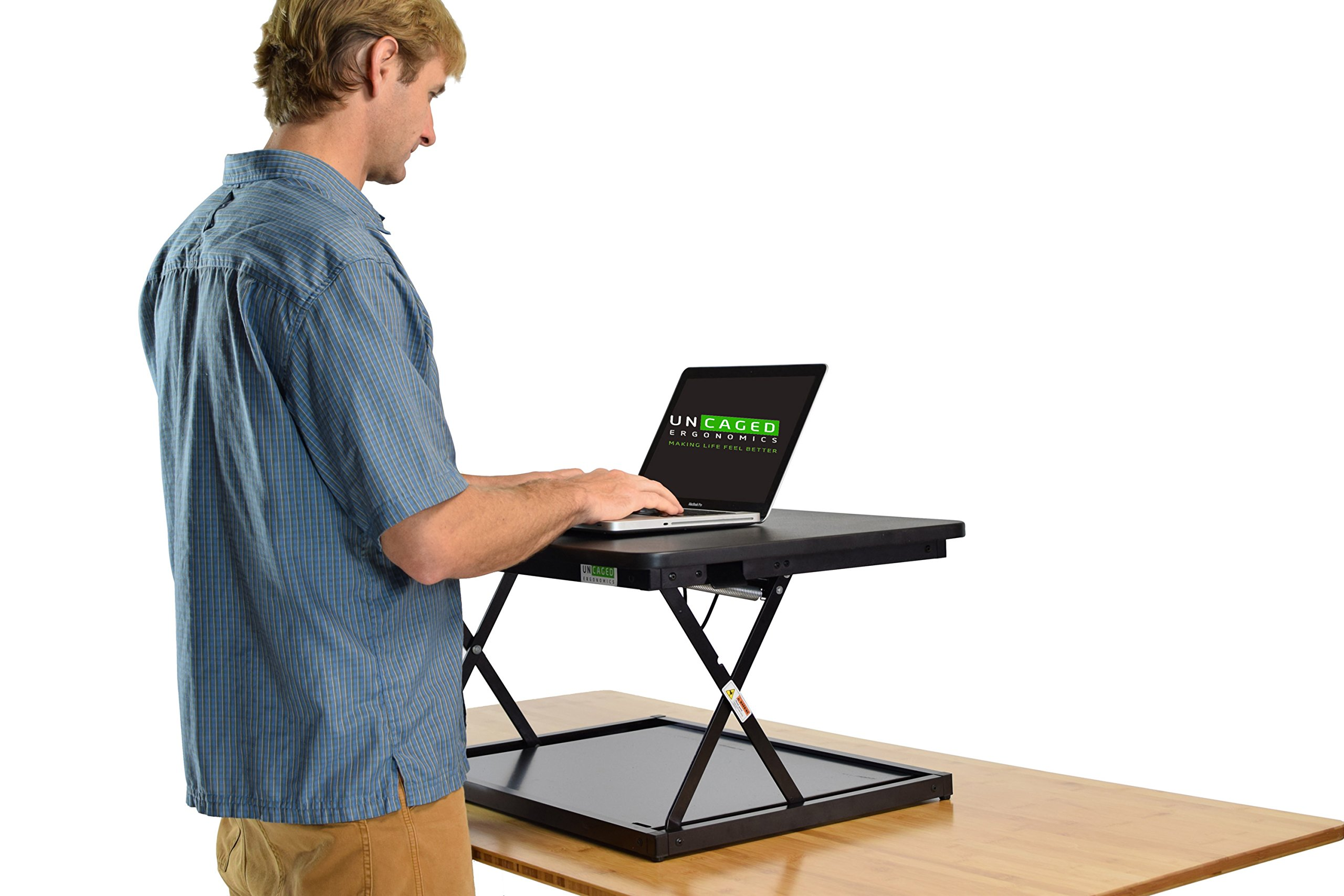 CHANGEdesk Mini Small Adjustable Height Standing Desk Converter for Laptop MacBook Single Monitor Desktop Computer Portable Lightweight Ergonomic sit Stand up Corner Riser Affordable Compact Tabletop by Uncaged Ergonomics (Image #7)