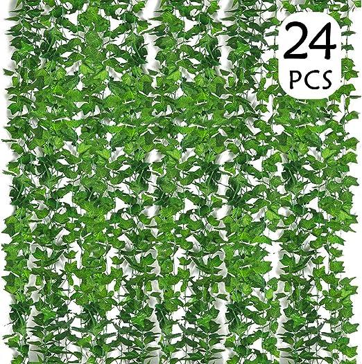 Plantas Hiedra Artificial (24pcsx2.2m) Hiedra Hojas de Vid Artificial Guirnalda Plantas Decoración de Seda Hogar Decoración Jardín Valla Boda Fiesta Ventana Escalera Exterior y Interior: Amazon.es: Hogar