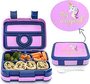 Elleuality Kids Designs - Unicorn 4 compartment bento lunch box, durable, leak proof design, BPA Free - Food Safe, Freezer - Microwave - Dishwasher safe, perfect portion sizes for kids 3-10