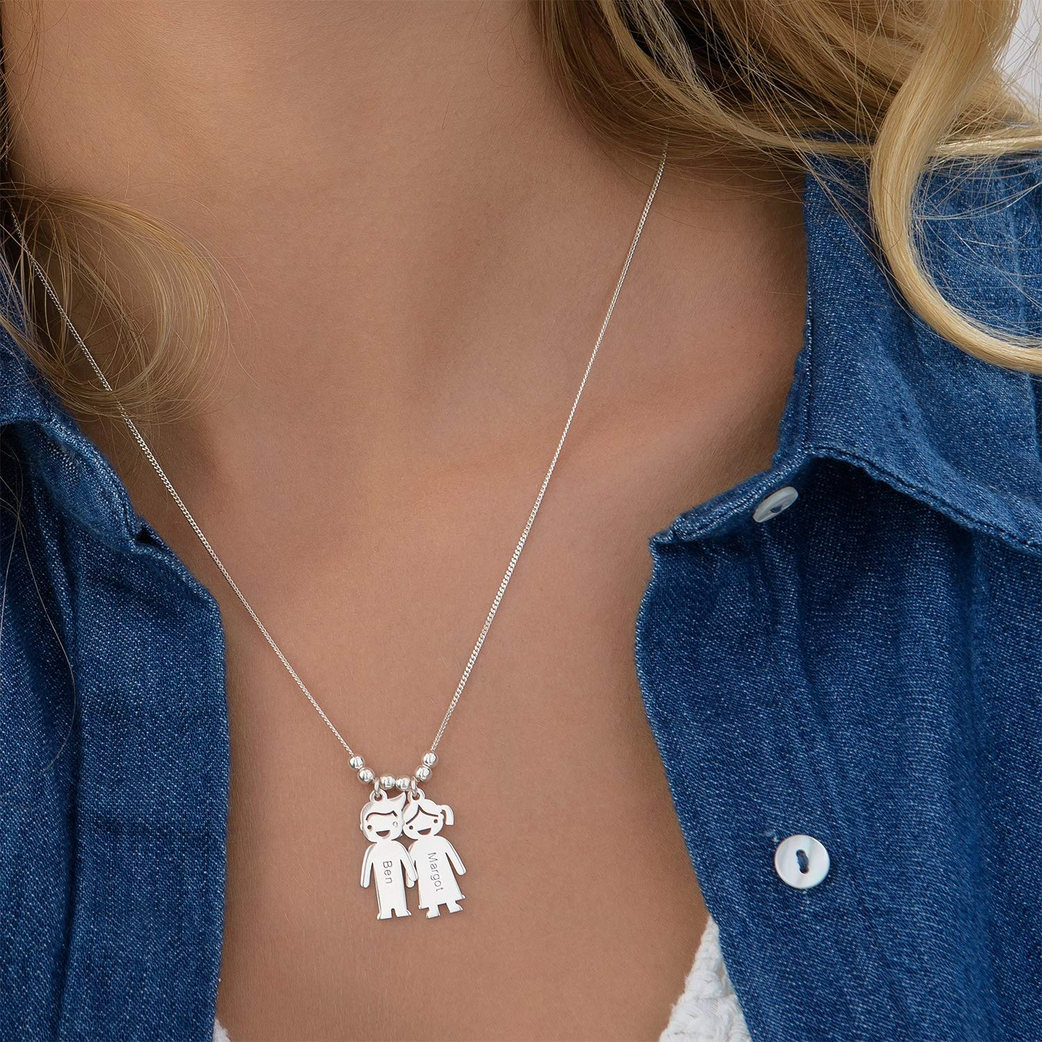 Personalized Children Charms Mothers Necklace-Engraved Boy Girl Charm Jewelry by MyNameNecklace (Image #3)
