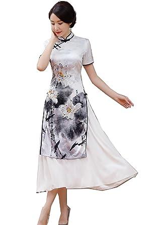 b72bb8c30 Shanghai Story Vietnamese ao dai Chinese Oriental Dress Long Cheongsam M  AD6A